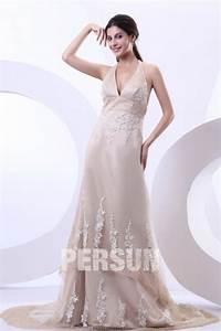 Robe De Mariée Dos Nu Plongeant : robe de mari e sexy dos nu encolure en v plongeant orn e de applique ~ Melissatoandfro.com Idées de Décoration