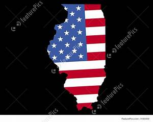 Map Of Illinois With Flag Illustration