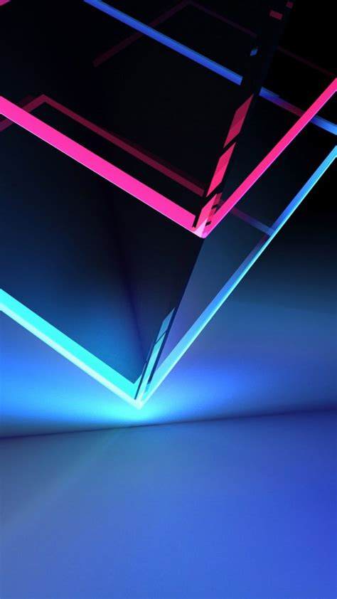 Neon Wallpaper Mobile by 3d Cube Neon Blue Light Free 4k Ultra Hd