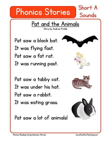 free phonics reading comprehension stories a by neidinha