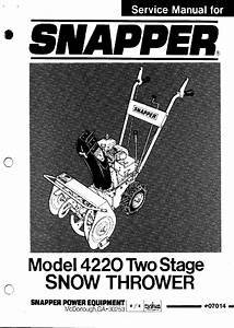 Snapper 4220 Series Snow Blower Service Manual Pdf View