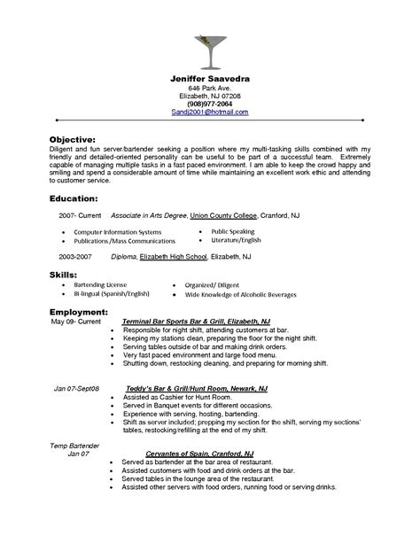 Best Bartending Resume by 95 Resume For Bartender Server Sle Resume For