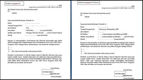 Contoh Surat Lamaran Kementrian Pendidikan by Format Surat Lamaran Cpns Kementerian Hukum Dan Ham 2018