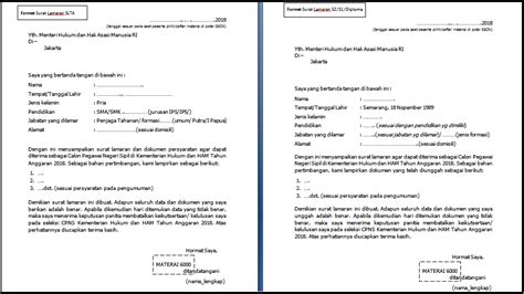 format surat lamaran cpns kementerian hukum dan ham 2018