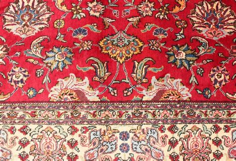 bright red midcenturyvintage persian tabriz rug