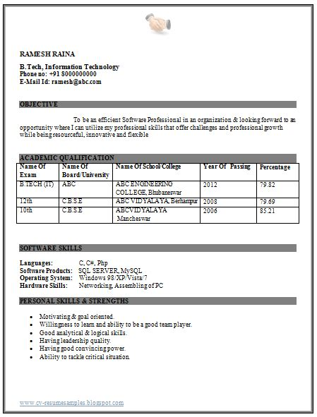 B E Fresher Resume by Professional Curriculum Vitae Resume Template For All