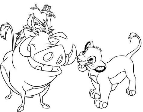 Kleurplaat Pumba by Simba Timon Pumba O Rei Le 227 O The King Coloring