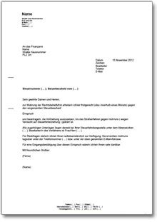 berufung gegen einen steuerbescheid de musterbrief