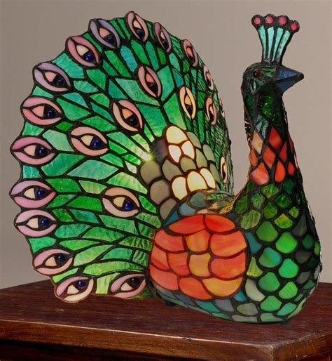 "Tiffany Style 11.5"" Poetic Peacock Stained Glass Accent"
