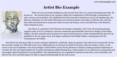 artist bio artist bio exle bio exles