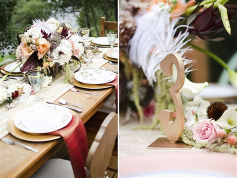 Rustic Art Deco Wedding Inspiration   Glamour & Grace
