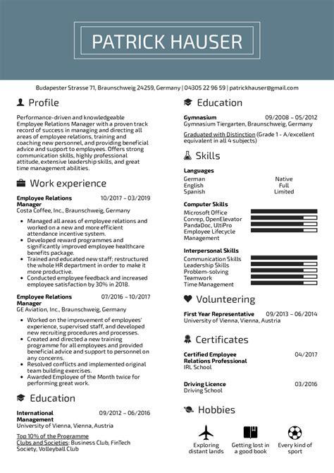 Employee Relations Resume by Vzory životopisov Skutočn 253 Ch ľud 237 Employee Relations