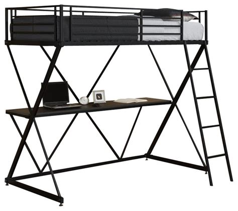 dhp loft bed dhp x shaped metal loft bunk bed in black
