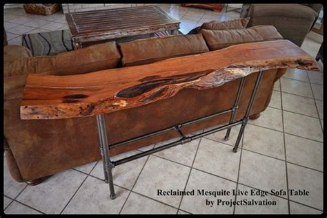 buy  hand crafted  edge mesquite sofa table