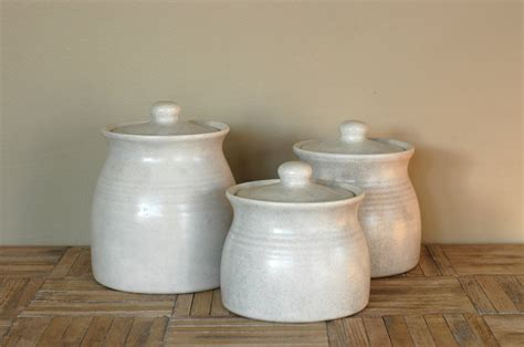 ceramic kitchen canister set vintage white ceramic canisters set of 3 by bonnbonn on etsy