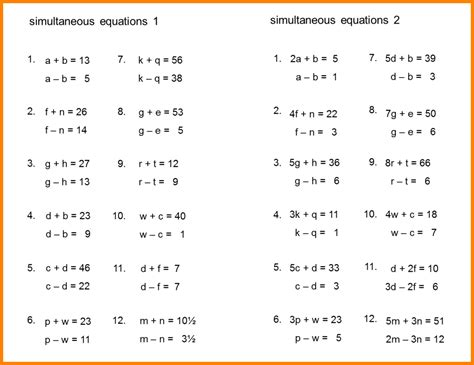 simultaneous equations worksheet with answers 7 simultaneous equations worksheet project fans