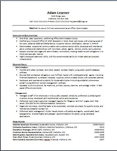 Resume Creator Canada by Pin By On Administrative Functional Resume