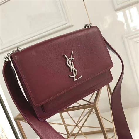 yves saint laurent sunset satchel flap front bag  red grained leather