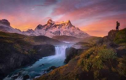 Nature Cool Mountain Waterfall Views Amazing Desktop