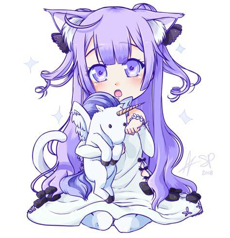 anime unicorn art commission chibi neko unicorn by stalkingp on deviantart