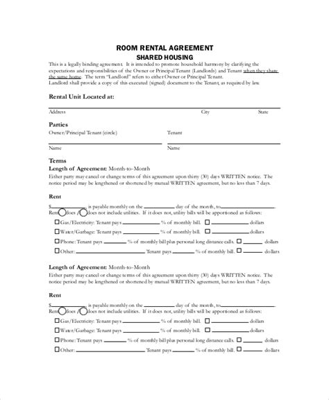 basic rental agreement templates  sample