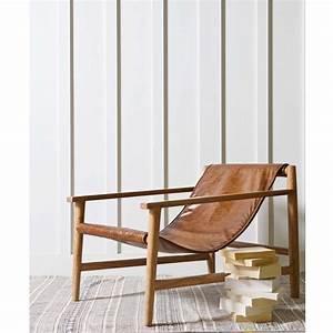 fauteuil en bois et cuir sling par drawerfr With fauteuil cuir bois design