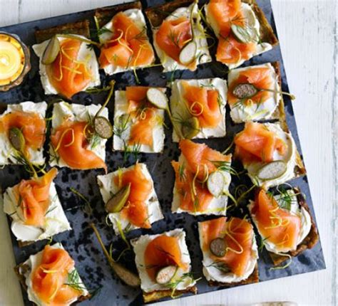 posh canapes recipes potato cakes with smoked salmon cheese recipe