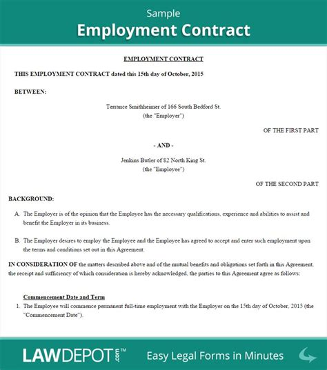 employment contract sample contract template letter