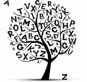 Art Tree With Letters Of Alphabetfor Your Design