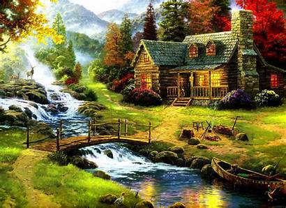 Forest Backgrounds Nature Painting Contrast Kinkade Thomas