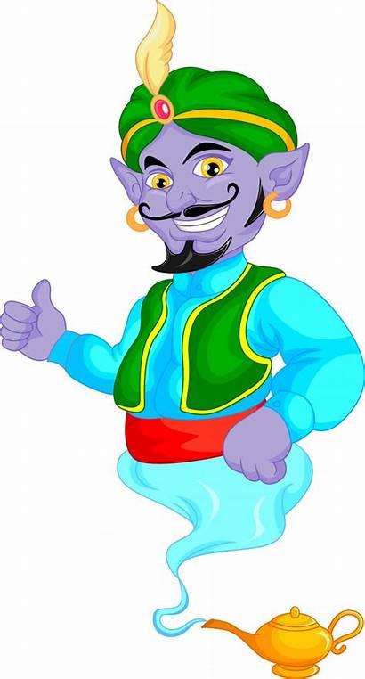Genie Cartoon Friendly Vector Premium Illustration