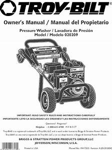 Troybilt 020209 User Manual Pressure Washer Manuals And