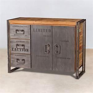 Buffet Bois Et Metal : buffet en bois recycl s avec 2 portes 3 tiroirs m tal industryal ~ Teatrodelosmanantiales.com Idées de Décoration
