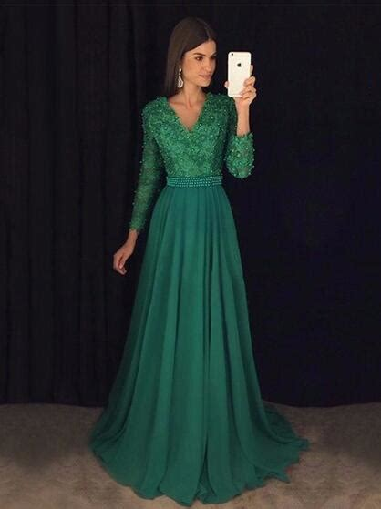 green prom dress  long sleeves prom dresses