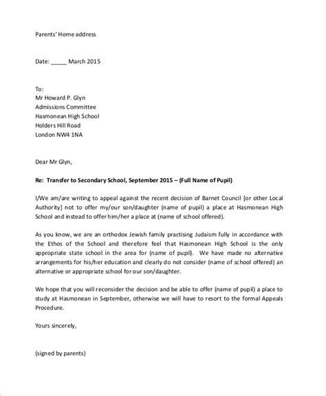 appeal letter samples  word