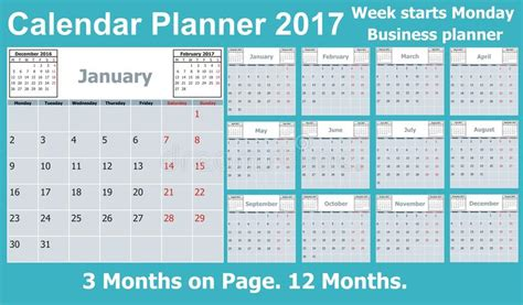 Calendar Planner For 2017 Year. 3 Months On Page. Week Sample Business Plan Delivery Service In Restaurant Growth Strategy Budget Card Dimensions For Print Powerpoint Template Letter Example Australia Cms