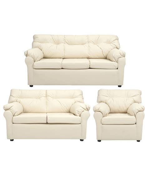 sofa set 3 teilig elzada 6 seater sofa set 3 2 1 in white buy at best price in india on snapdeal