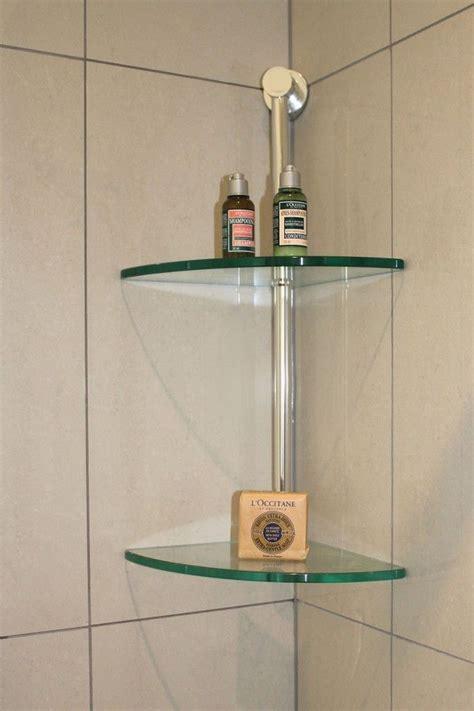 glass floating corner wall mount shelf design  bathroom