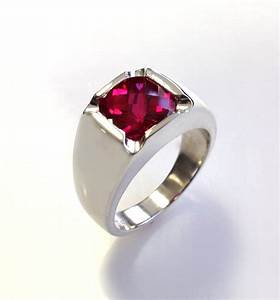 mens stunning antique cushion checkerboard cut ruby ring With mens ruby wedding rings