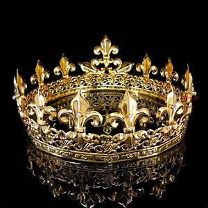 Men's Imperial Medieval Fleur De Lis Gold King Crown 8.5cm ...
