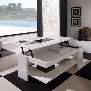 Table Laqué Blanc : table relevable blanc laque ~ Teatrodelosmanantiales.com Idées de Décoration