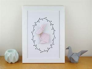 affiche a4 a motif graphique lapin rose en origami With affiche chambre bébé avec fleurs Ï distance