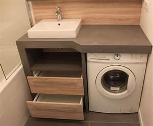 Meuble Pour Petite Salle De Bain : 9 petites salles de bains avec lave linge astuces conseils ~ Melissatoandfro.com Idées de Décoration