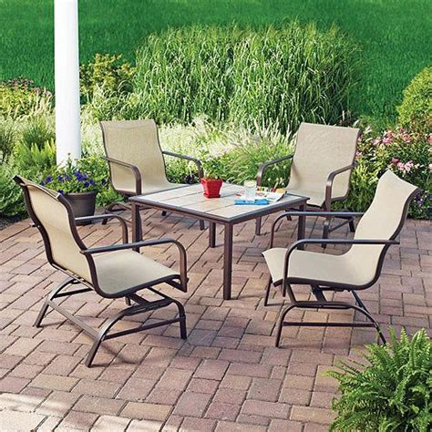Inexpensive Patio Dining Sets by Mainstays Square Tile 5 Patio Conversation Set