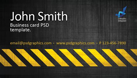 business card template construction hazard stripes theme