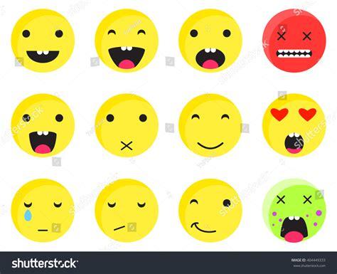 Yellow Round Smile Emoji Set Emoticon Stock Vector