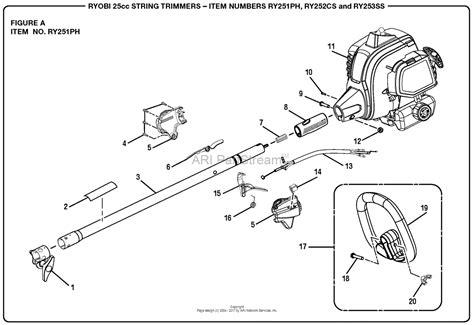 homelite ry252cs 25cc string trimmer mfg no 090333006 parts diagram for figure a