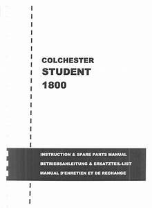 Colchester Student Operators Manual And Spare Parts List