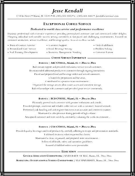 Barista Resume Exle by Resume Barista Resume Cover Letter For Barista Barista Description Resume Berathen