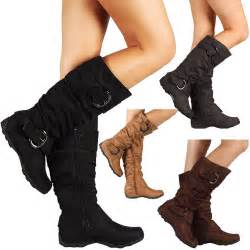 womens boots knee high faux suede flat boot fashion slouch stylish shoes size ebay
